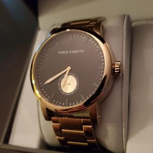 Vince Camuto Mens Gold 44MM Watch